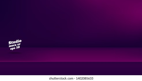 Vector,Empty dark color purple and pink studio table room background ,product display with copy space for display of content design.Banner for advertise product on website