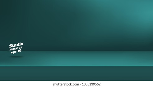Vector,Empty dull color green blue studio table room background ,product display with copy space for display of content design.Banner for advertise product on website