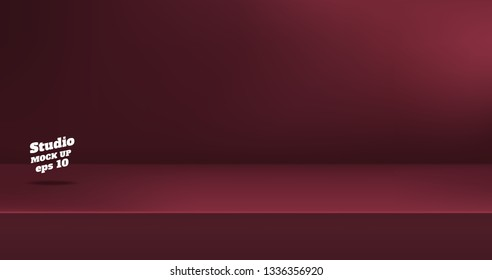 Vector,Empty dull color red maroon studio table room background ,product display with copy space for display of content design.Banner for advertise product on website