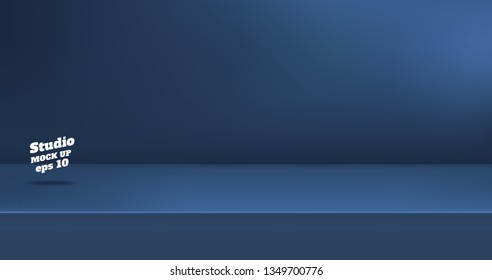 Vector,Empty dull navy blue color studio table room background ,product display with copy space for display of content design.Banner for advertise product on website
