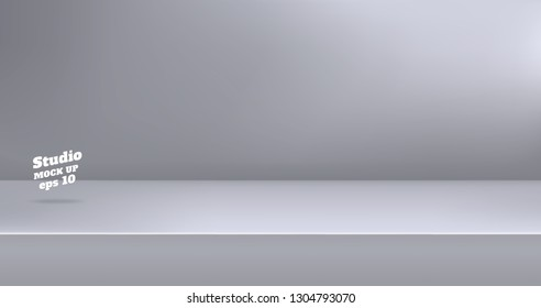 Vector,Empty modern grey color studio table room background ,product display with copy space for display of content design.Banner for advertise product on website
