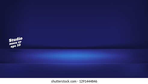 Vector,Empty neon style dark blue color studio table room background ,product display with copy space for display of content design.Banner for advertise product on website