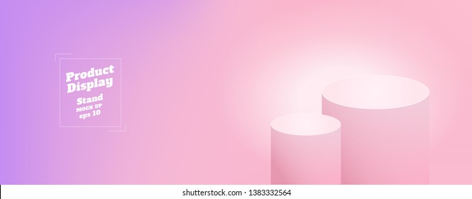 Vector,Empty subtle gradient purple to pink color studio round kiosk stand background ,product display with copy space for display of content design.Banner for advertise product on website