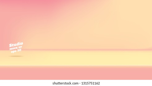 Vector,Empty vintage two tone pink and peace color studio table room background ,product display with copy space for display of content design.Banner for advertise product on website