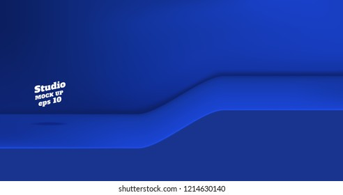 Vector,Empty vivid blue color studio table with slope step room background ,product display with copy space for display of content design.Banner for advertise product on website.