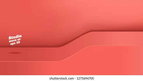 Vector,Empty vivid coral pink studio table with slope step room background ,product display with copy space for display of content design.Banner for advertise product on website