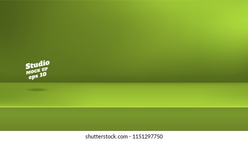 Vector,Empty vivid lime green color studio table room background ,product display with copy space for display of content design.Banner for advertise product on website