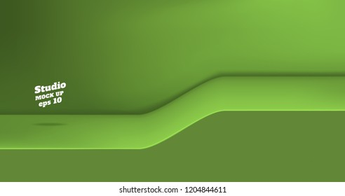 Vector,Empty vivid lime green color studio table with slope step room background ,product display with copy space for display of content design.Banner for advertise product on website