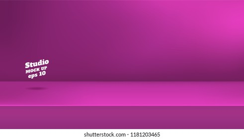 Vector,Empty vivid pink color studio table room background ,product display with copy space for display of content design.Banner for advertise product on website