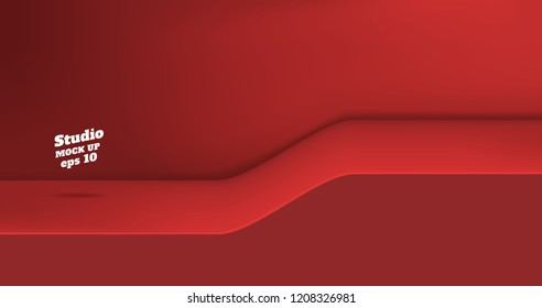 Vector,Empty vivid red color studio table with slope step room background ,product display with copy space for display of content design.Banner for advertise product on website