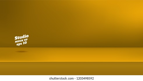 Vector,Empty vivid yellow color studio table room background ,product display with copy space for display of content design.Banner for advertise product on website