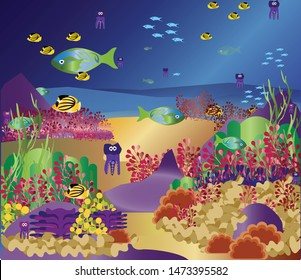 Vector.Flora and fauna, coral reefs, nature of the underwater world.