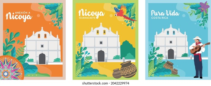 VECTORIAL BANNERS, POSTERS. Annexation of the Nicoya Party, Anexion a Nicoya, Iglesia de San Blas, Costa Rica Independence day, tourism, national symbols, folklore, cultural events, ox cart wheel