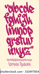 Vectorial font in graffiti hand written style. Lower case letters alphabet.