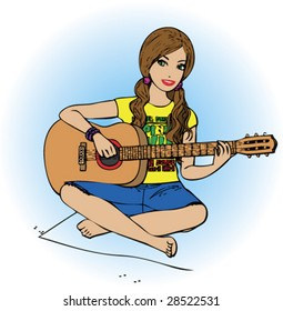 vectorial girl on a carpet with a guitar