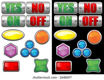 Vectorial glass buttons with different colors. One set with black stroke over white background and other set with white stroke over black background
