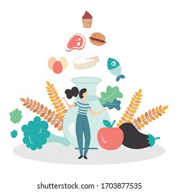 Vectorial illustration of a balanced nutrition, represented with the food pyramid of mediterranean diet. A girl stands between healthy foods, vegetables, water and cereals, choosing what to eat