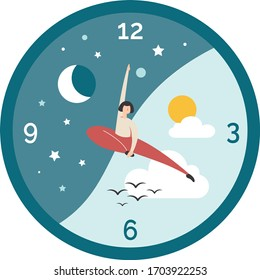 Vectorial illustration of a clock with human hands, representing the circadian rhythm of sleep and wakefulness. In the balanced cycle, a half circle contains the night and the other one the day.