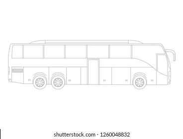Vectorial illustration of a coach bus. Black and white schematic style.