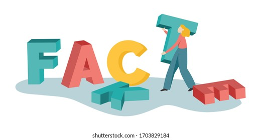 """Vectorial illustration of concept of fake news. A young man changes letters to turn the word """"fake"""" to """"fact"""". Big 3d coloured letters of word """"fake"""" becoming """"facts""""."""