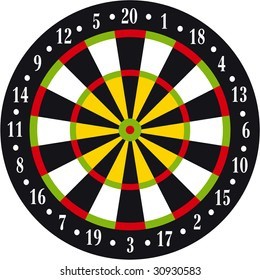 Vectorial illustration of dart board on white background