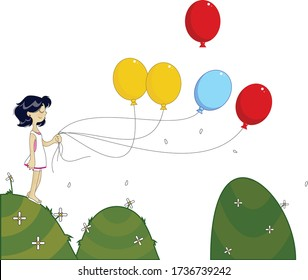 Vectorial Illustration, girl with colorful balloons over mountains with transparent background