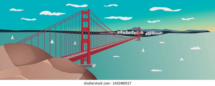 vectorial illustration of the Golden Gate Bridge sunset in San Francisco, California