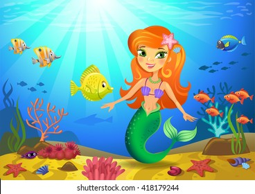 Vectorial illustration of a mermaid on a seabed with corals and small fishes