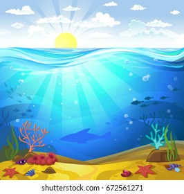 Vectorial illustration of underwater - a seabed with corals and small fishes