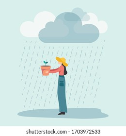 Vectorial illustration of a young woman with a yellow rain hat, holding a jar with a bud under rain: it's the ability to find the positive side and opportunities in a bad situations of crisis.