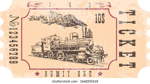 vectorial image of old vintage steam train ticket to new world