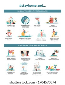 Vectorial infographics of tips to stay home safe and healthy, with good habits, routine and solidarity. Poster of advices for physical and mental health in quarantine due to coronavirus.