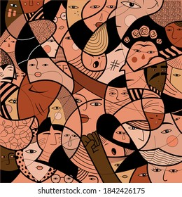 Vectorial pattern with faces of people of different cultures and religions. Puzzle of people and minorities fighting for justice, equality and human rights.