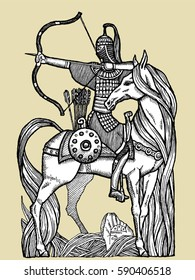 Vector-Illustration with beautiful rider on a horse.Vector sketch for tattoo