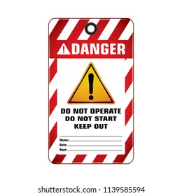 Vector,illustration graphic style,Danger Do Not Start Keep Out Tag,Red and white rectangle Warning Dangerous icon on white background,Attracting attention Security First sign,Idea for presentation.