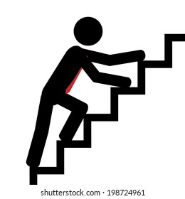 Vector/illustration. Man trying to climb the stairs.