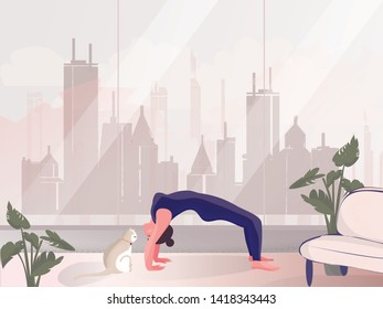 Vector-illustration of private meditation by the window.Good looking woman doing yoga in upward facing dog pose in  room of her rescident.Lifestyle of successful people.International Yoga Day on 21st