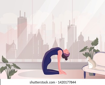 Vector-illustration of private meditation by the window.Good looking woman doing yoga in ustrasana or camel pose at home ith cat .Lifestyle of healthy successful people.International Yoga Day on 21st
