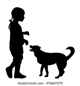 vector,isolated on white background,silhouette child and dog