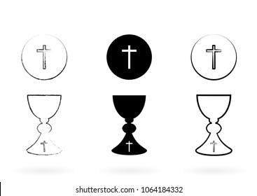 Vectorized drawing of a sacred chalice with divine host. Vector.