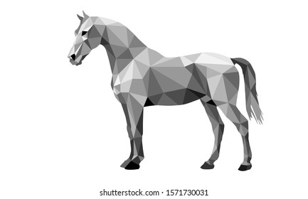 vectorized graphic monochrome pen drawing on white  background, horse