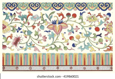 Vectorized grunge floral ornament