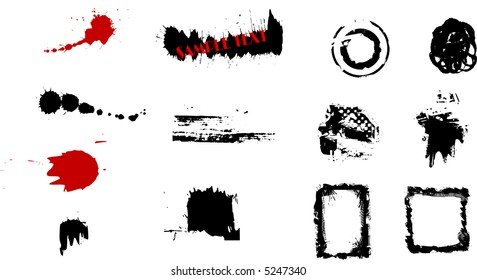 Vectorized grunge and goth design elements