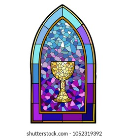 vectorized image of a stained glass window, ornamented with a chalice