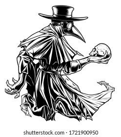 Vectorized ink drawing of plague doctor with human skull.