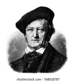 vectorized old engraving of Richard Wagner, engraving is from Meyers Lexicon published 1914