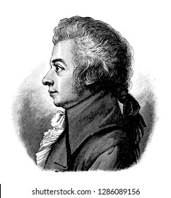 vectorized old engraving of Wolfgang Amadeus Mozart, engraving is from Meyers Lexicon published 1914