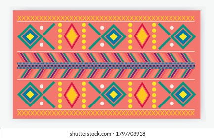 Vectorized textile background inspired by a typical Guatemalan costume. Colorful minimalist and modern pattern of Guatemalan culture. Ethnic, mayan, culture