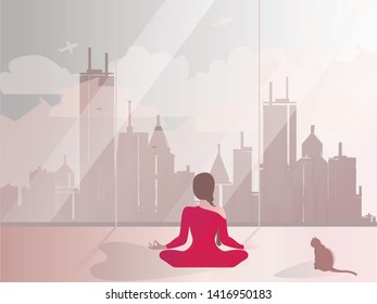 Vector-Minimal illustration of private meditation by the window.Good looking woman doing yoga in lotus position in the room of rescident.Lifestyle of successful people. International Yoga Day on 21st
