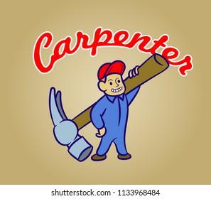 Vectorretro cartoon of carpenter
